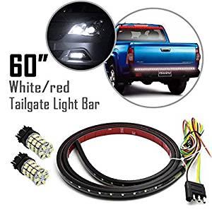 """Partsam 60"""" Flexible Red/White LED Strip Tailgate Bar Universal Light+3157 Reverse Light"""