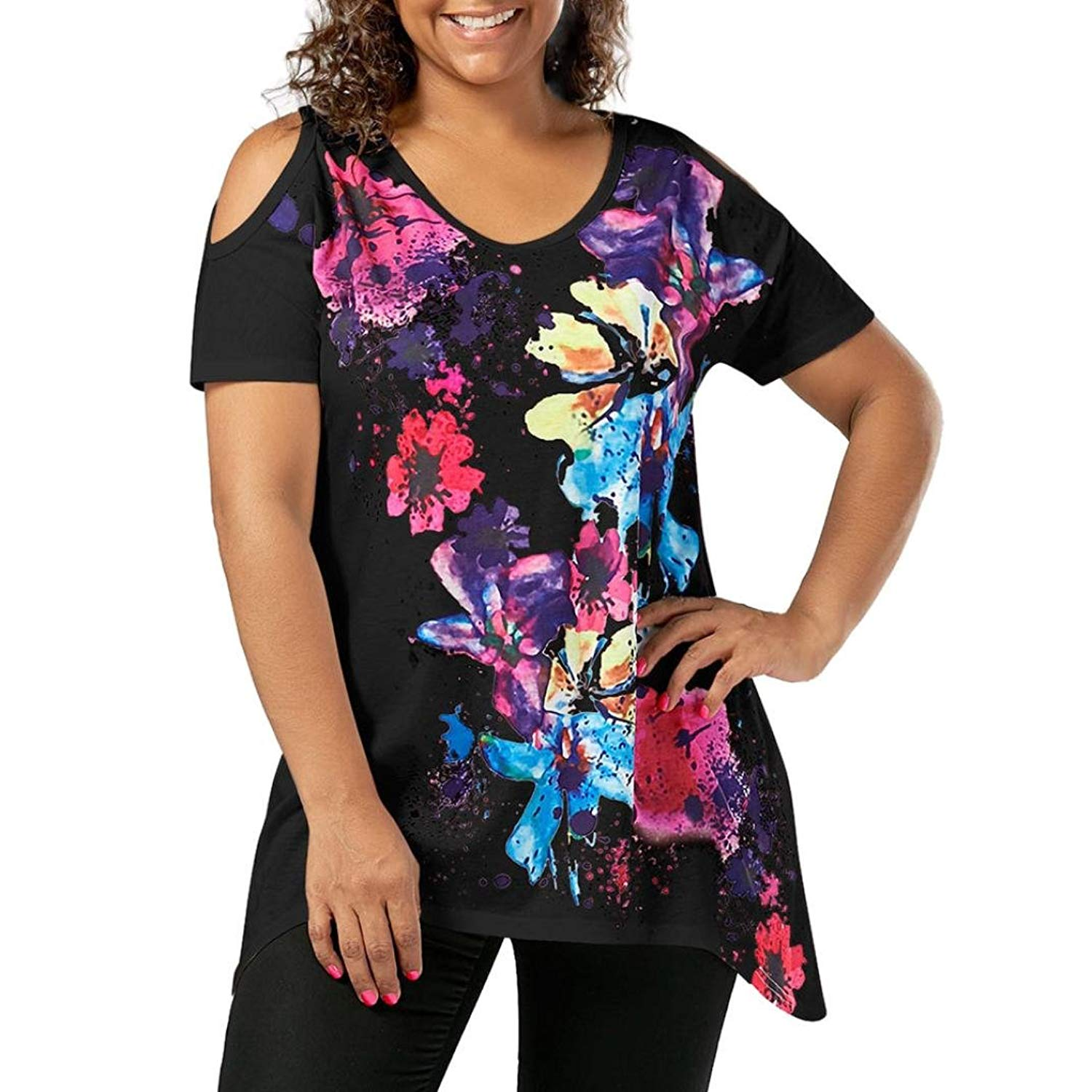 c49d20cb3f7 Get Quotations · Ninasill Clearance ! Hot Sale Plus Size Cold Shoulder  Floral Print Tank Tops Blouse