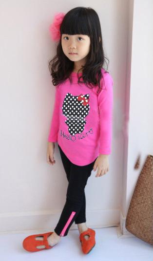 Прозрачный на складе длинный рукав hello kitty малыш рубашка дети футболки для девочки
