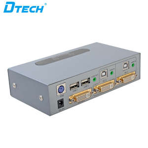Dtech USB Mouse And Keyboard Automatic Button Press Two DVI Inputs One DVI Output DVI 2 to 1 KVM switch