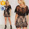 Sexy Women Sheer Black Lace Dress With neck tie Manufacture Wholesale Fashion Women Apparel(TS0028D)