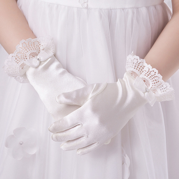 G4150B2-0 Lovely Kids Satin Wedding Glove with Lace for Flower Girl /Communion Girl