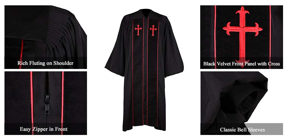High Quality Low Price Fluted Clergy Robe Church Choir Robes