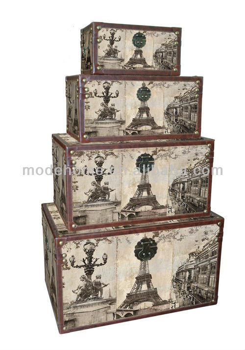 New Cheap Wood Canvas Paris Storage Box