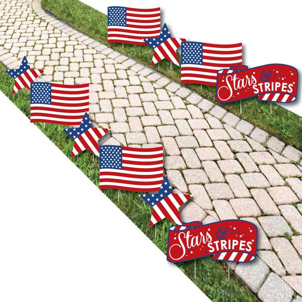 Stars & Stripes - American Flag & Star Lawn Decorations - Outdoor Labor Day & Patriotic Yard Decorations - 10 Piece