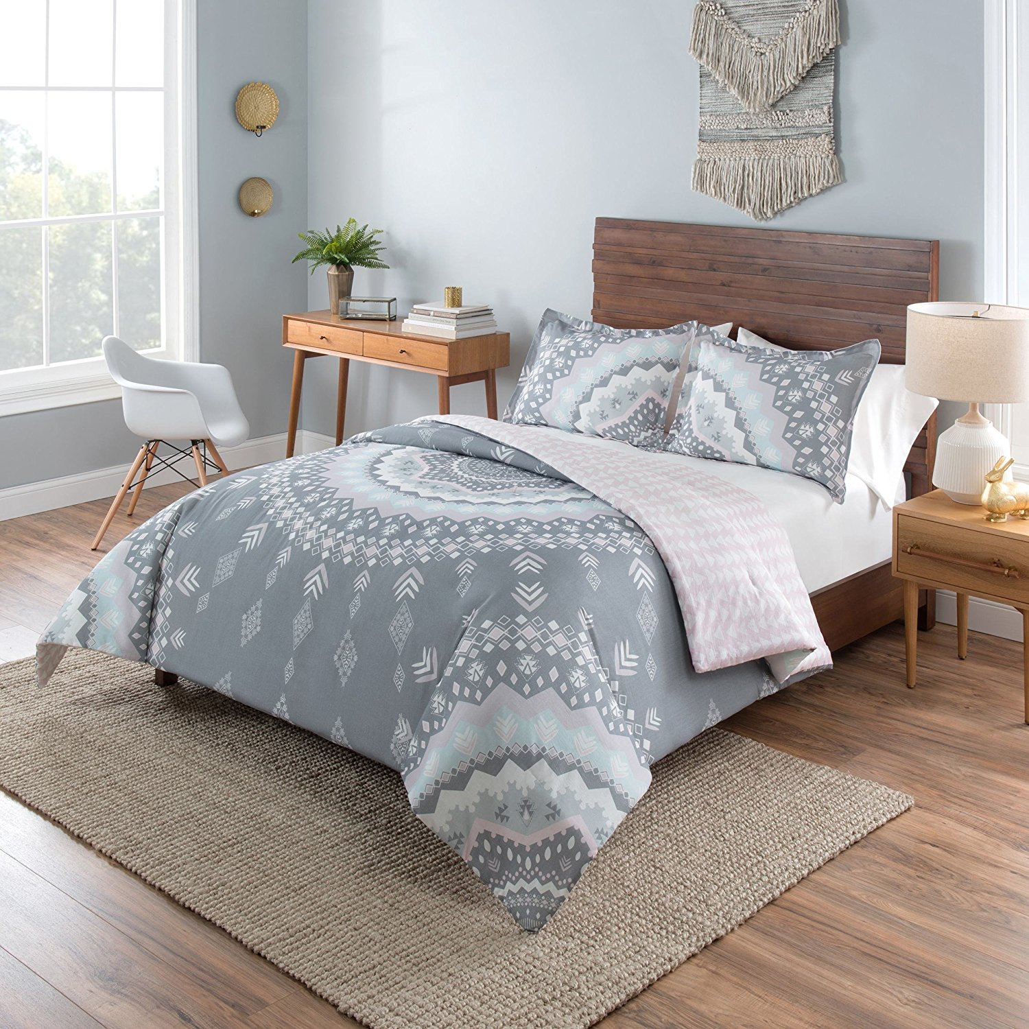 LO 3 Piece Grey Pink White Geometric Medallion Comforter Set Full Queen, Gray Light Pink Mandala Bohemian Motif Reversible Adult Bedding Master Bedroom Casual Fancy Colorful Traditional, Cotton