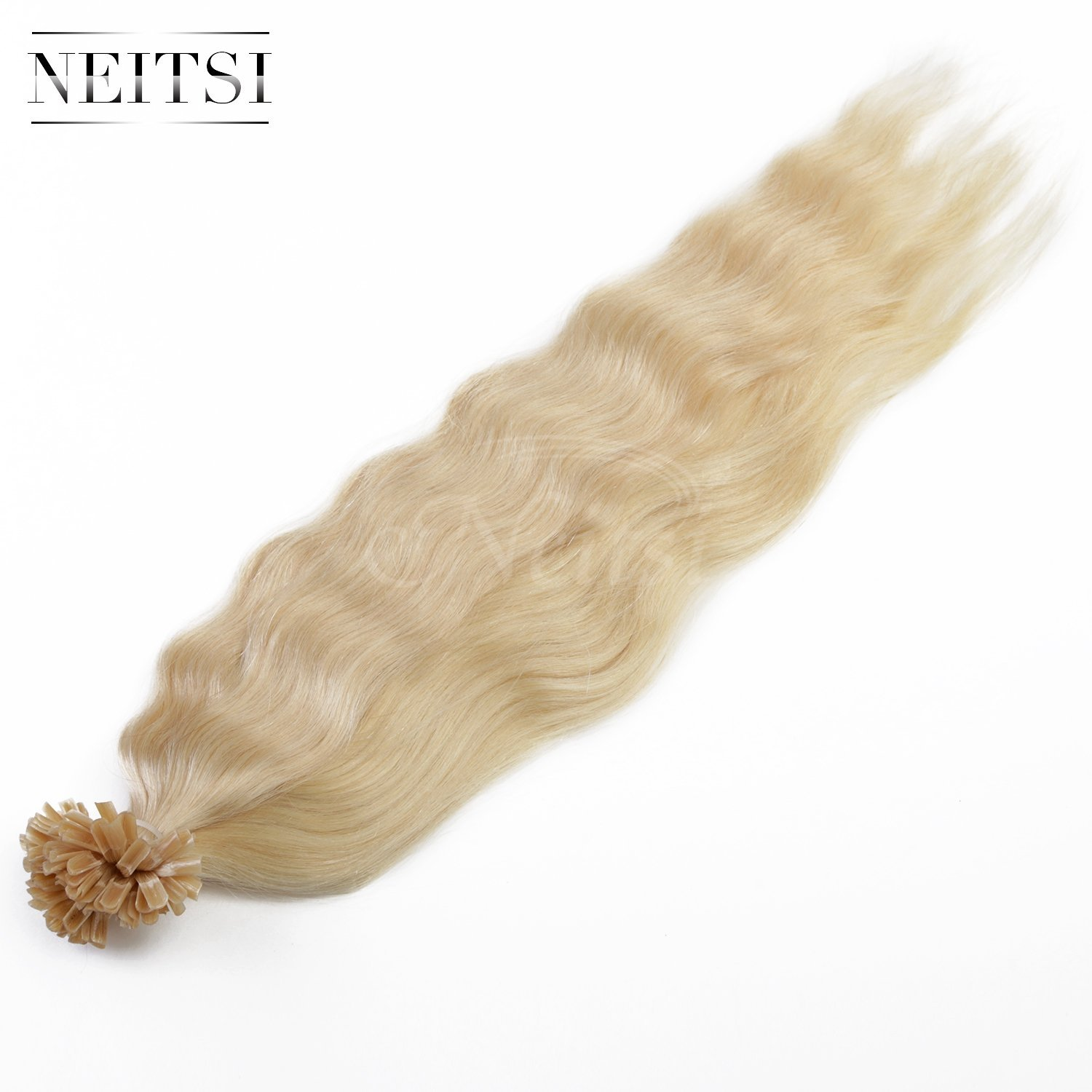 "Neitsi® 20"" 25s/lot 1g/s 100% Remy Human Hair Nail U Tip Hair Extension Natural Wave (613#)"