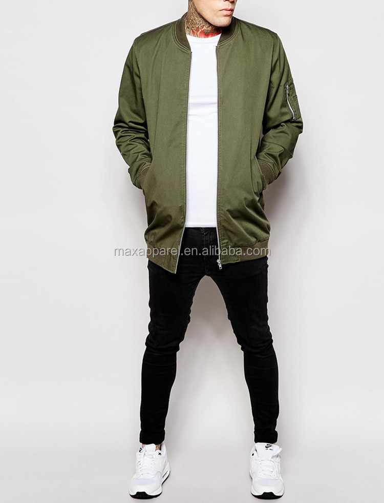 ad1dc84a571 Custom Men Cotton Nylon Olive Long Extended Bomber Jackets In High Quality