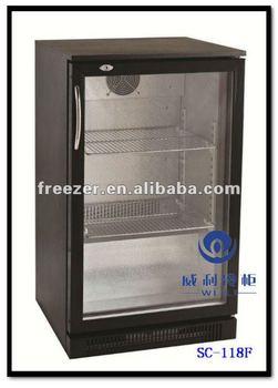 Glass Door Bar Fridge With Chrome Plated Shelf SC 118F