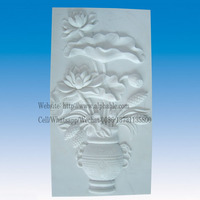 Natural Stone Carved Modern Relief Sculpture With Flowers