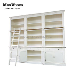 3 bay french provincial style library bookcase with ladder white wooden bookcase with doors