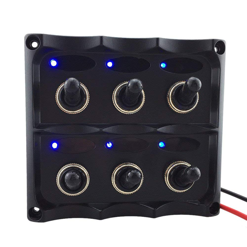 Get Quotations · Walmeck 12V-24V Waterproof 6-Gang Toggle Switch Panel with  Fuse LED Indicators DIY
