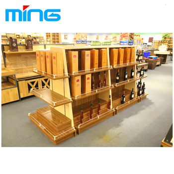Wood Liquor Store Display Shelving Metal Wall Mounted Glass Cabinet Wooden  Wine Rack