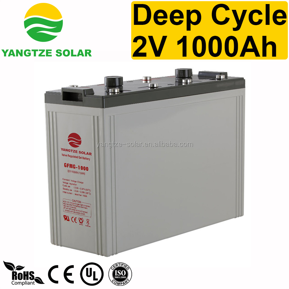 Top standard gel deep cycle solar battery 2v 1000ah