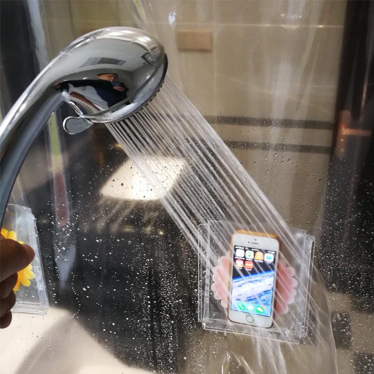 มัลติฟังก์ชั่นสนุกพิมพ์ม่านอาบน้ำพีวีซีใสพร้อมกระเป๋า