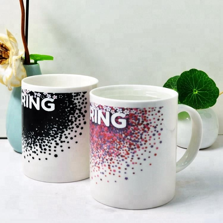 Creative sublimation magic color changing white porcelain milk mug for giveaways