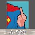 A 520 Super Man Middle Finger Waterproof Cool DIY Stickers For Laptop Luggage Fridge Skateboard Car