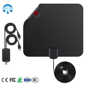 Wholesale Flat Amplified HD TV Antenna for digital HDTV Indoor with USB power plug F female PAL male