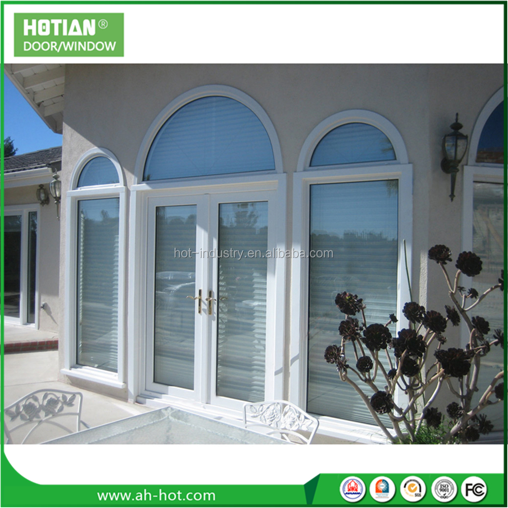 Container Homes PVC Sliding Window With Top Arch Cheap Upvc Louver Shutter Window