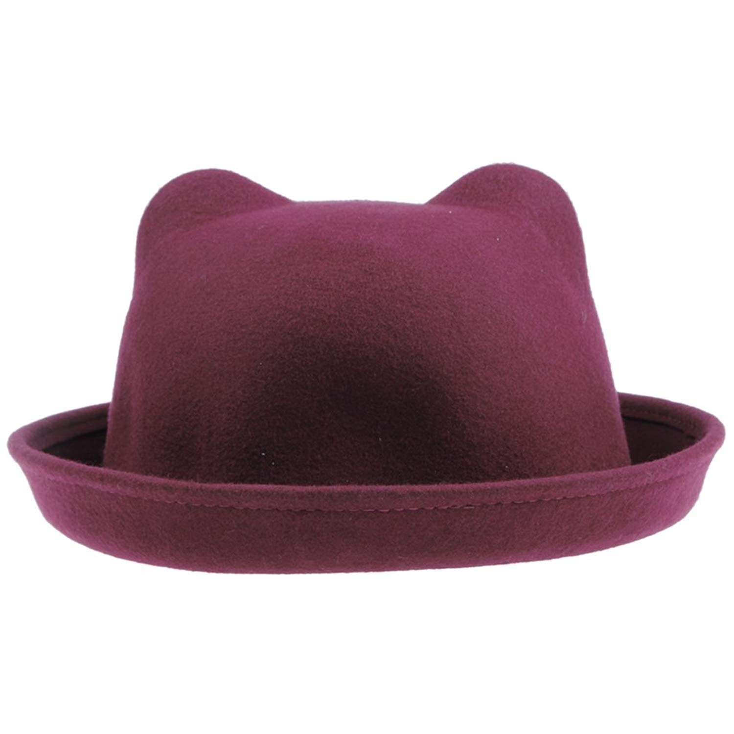 b47ef6e9a9aef Get Quotations · JTC Ear Hat New Womens Wool Party Hat Billycock Cloche Derby  Hat Wine Red