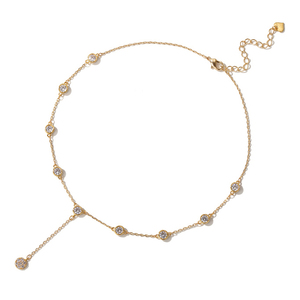 Gold jewelry white zircon choker pendant necklace