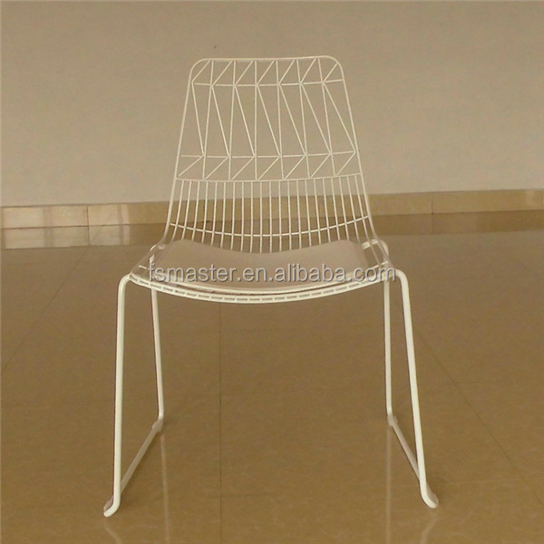 metal wire side garden dining chair with soft pad