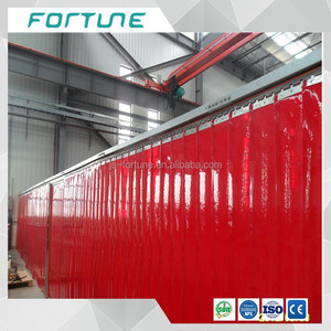 red color screen flexibel pvc strip door curtain clear color welding foil film anti-uv flame retardant