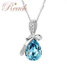 Customized Gorgeous Drop-shaped Pendant Diamond Crystal Choker Necklace for Women