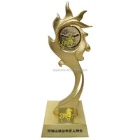 8 inches Fire theme Sports Gold Plated Metal Trophies OEM TV Show Trophy Award Sun Games