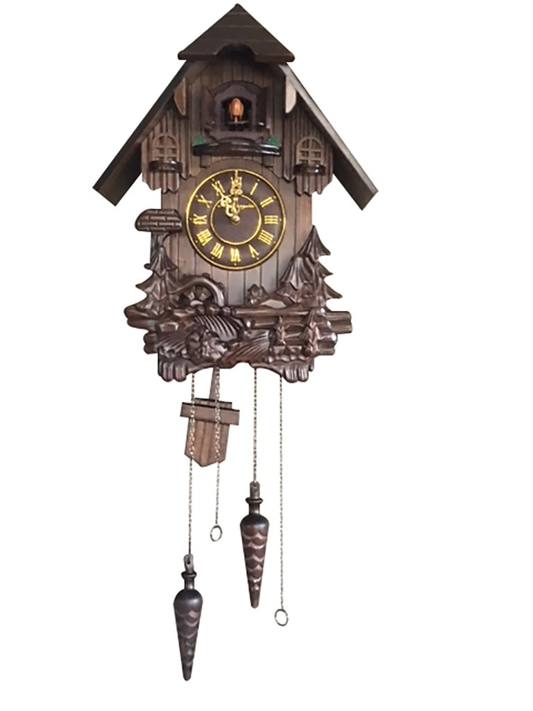 Wall Cuckoo Clocks: Vmarketingsite Black Forest Wooden Cuckoo Clock. Black Forest Hand-carved Cuckoo Clock. Bright Cuckoo Bird Sounds On The Hour And Chime Has Automatic Shut-Off. Excellent Gift.