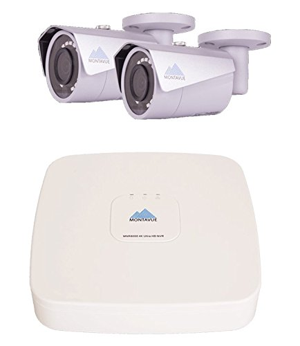 Montavue Security System 4 Channel NVR w/ 2 4MP IP Security Cameras, Color Night Optics, IR Night Vision & metal housing – MTIP80412B