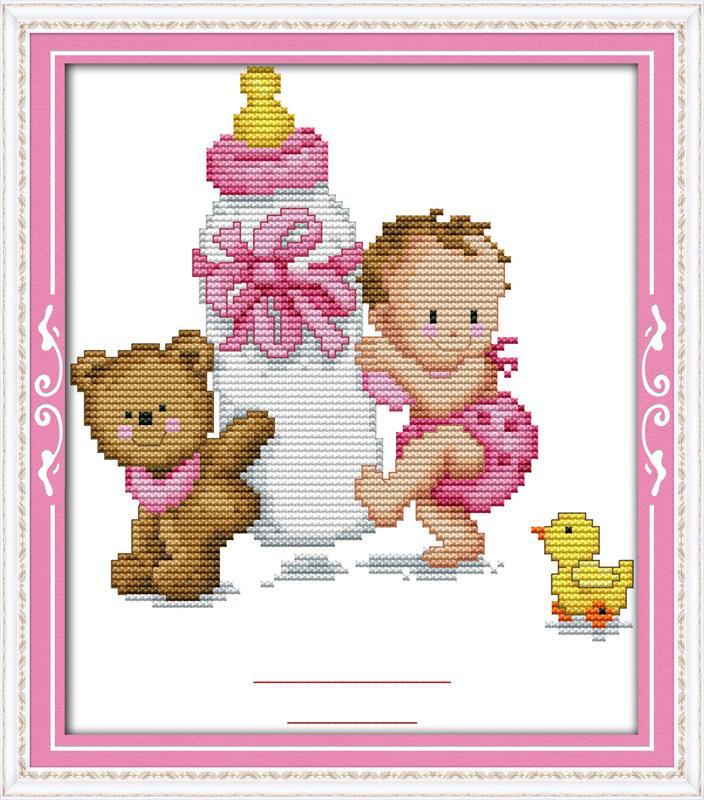 Bouteille bébé certificat de naissance ( rose ) DMC point