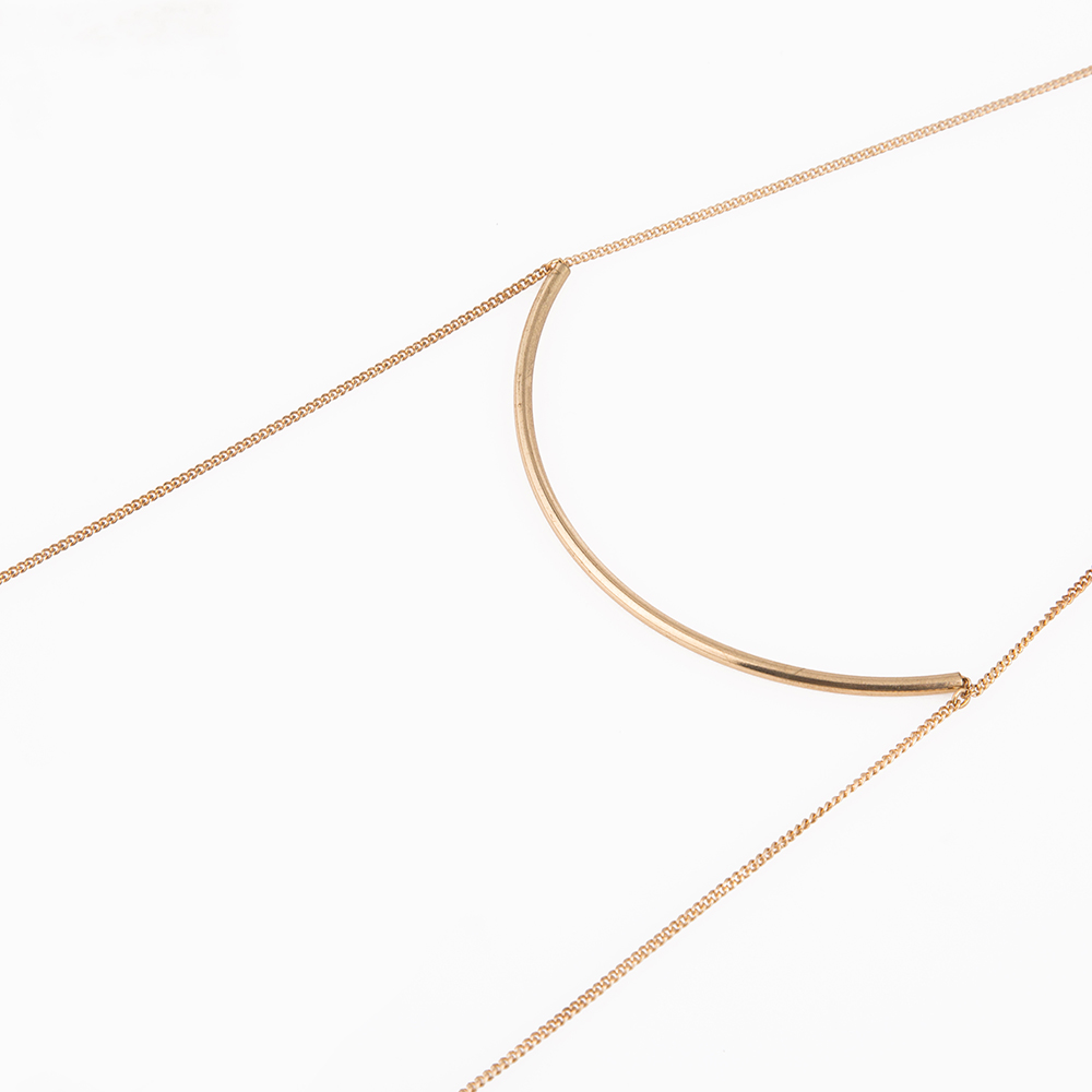 double gold turquoise layering multi simple strand pin necklace