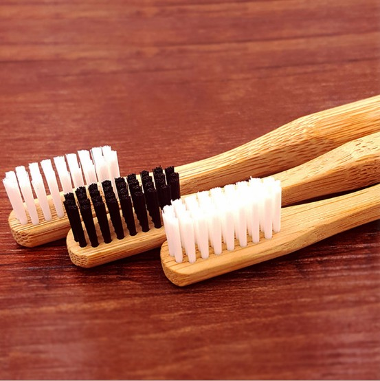 Natural bamboo round handle toothbrushes