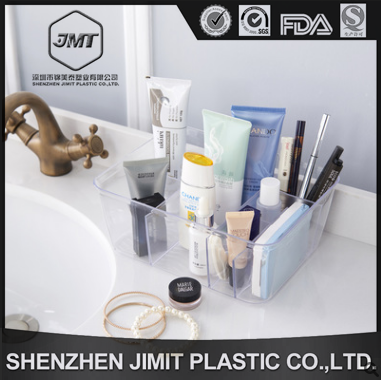FDA standard lucency 23*18*9cm plastic PS divisions bathroom small things/sundries collection storage box