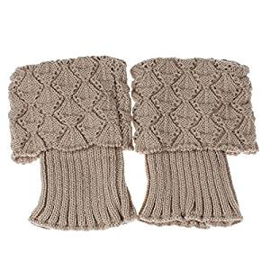 Socks - TOOGOO(R)Women Crochet Knitted Trim Boot Cuffs Toppers Liner Leg Warmer Socks Color:Beige