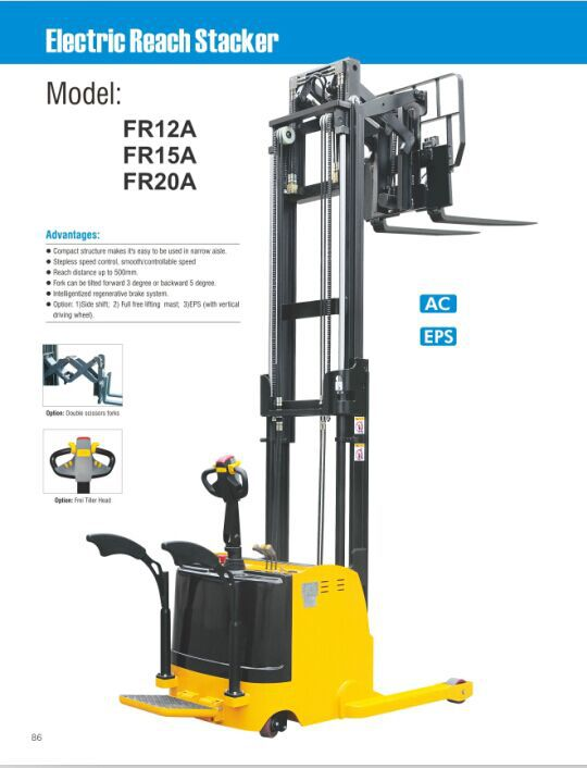 1.5 Ton Double Scissor Electric Forklifts 5.5 M With Factory Price