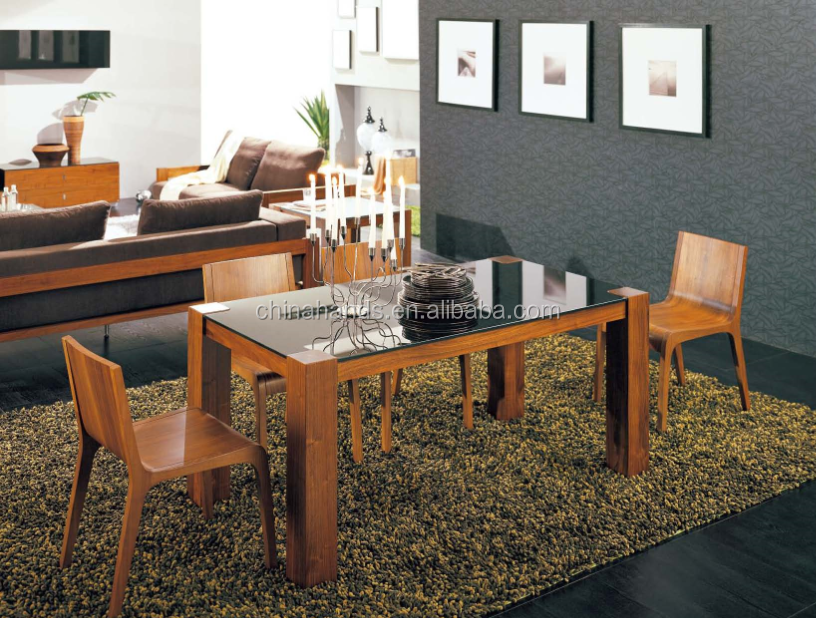 Dining Room Table Set , Black Oak Oblong Wooden Dining Table With Black Glass Top