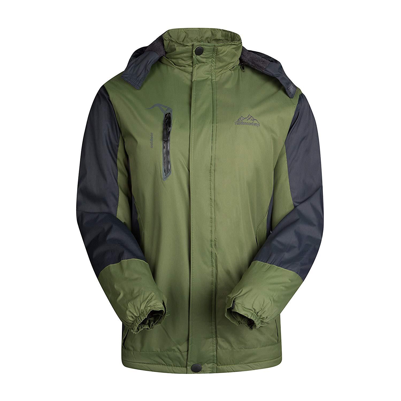 Get Quotations · GEEK LIGHTING Men s Hooded Waterproof Windproof Cycling  Jacket Front Zip Thermal Ski Jacket ee6f295e7