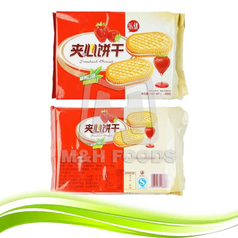 200g Delicious Sweet Strawberry Oval Milk Sandwich Biscuits