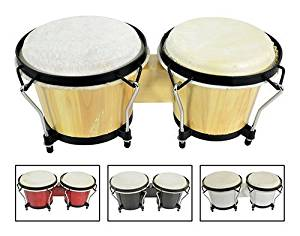 """AVL53 - PAIR OF RED BONGOS 6.5"""" & 7.5"""" DIAMETER WITH TUNEABLE HIDE HEADS & TRADITIONAL RIM WOOD FINISH INCLUDES TUNING KEY"""