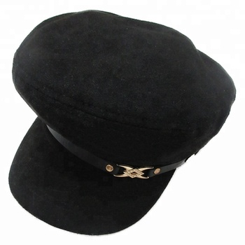 Custom Fashion Ladies Black Patrol Cap Metal PU Decorate Polyester Cotton  Newsboy Cap For Women 82cbcb76b7e