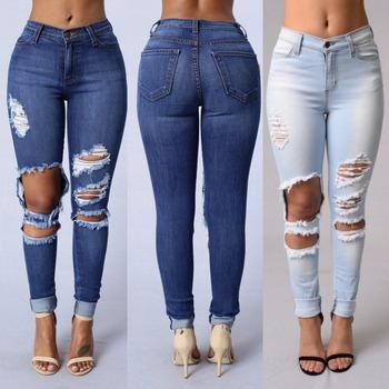 5e792f6d673 Новый стиль Модные джинсы для девочек Высокая талия женщин потертые джинсы  женские рваные джинсы брюки