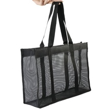 Più basso MOQ Personalizzare Facile Carring <span class=keywords><strong>Shopping</strong></span> <span class=keywords><strong>Bag</strong></span> Nera Eco-Friendly <span class=keywords><strong>Riutilizzabile</strong></span> Tote Sacchetto di Rete di Nylon <span class=keywords><strong>Shopping</strong></span> <span class=keywords><strong>Bag</strong></span> per Le Donne