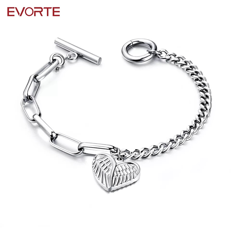 New Arrival Stainless Steel Heart Charm Chain Bracelet for Women