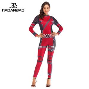 2018 Fashion movie Adult Women Sexy Jumpsuit Halloween Deadpool Full Cosplay Costume