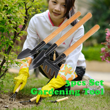 Rake Garden Plant Tool Set With Wooden Handle Gardening Tool 3pcs Mini Shovel