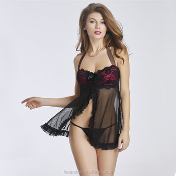 f5f07ff49 Hot Sale Women s Sexy Lingerie Lace babydoll Nighty Underwear G-string Set