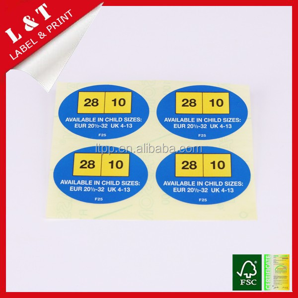 Size stickers for child shoes, clothes
