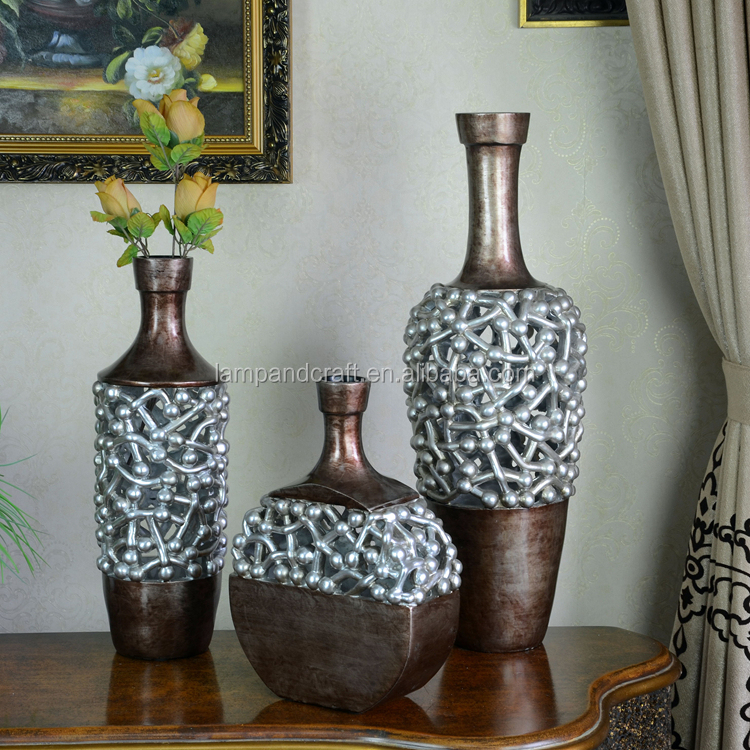 Resin Chinese Antique Bronze Vase For Home Decor Hotel Market With Pink Silver White